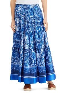 Lauren Ralph Lauren Paisley Tiered Ruffle Maxi Skirt