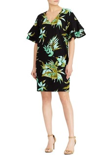 Lauren Ralph Lauren Palm-Print Flutter-Sleeve Shift Dress
