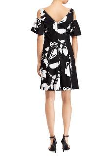 Lauren Ralph Lauren Petites Floral Sateen Cold-Shoulder Dress