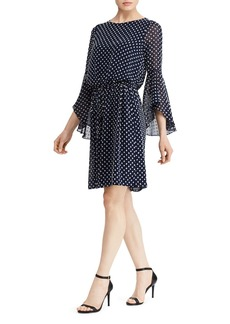 Lauren Ralph Lauren Flutter-Sleeve Dot-Jacquard Dress