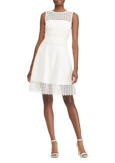 Lauren Ralph Lauren Petites Lace-Inset Crepe Dress