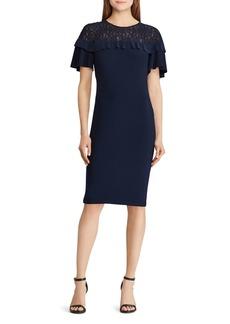 Lauren Ralph Lauren Petites Lace-Inset Ruffled Dress