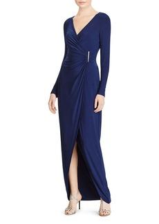 Lauren Ralph Lauren Pin-Detail Faux-Wrap Gown