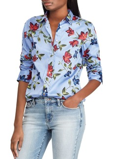 Lauren Ralph Lauren Pinstripe Floral Button-Down Top