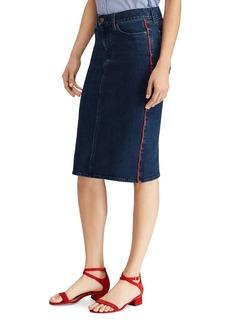 Lauren Ralph Lauren Piped Denim Pencil Skirt