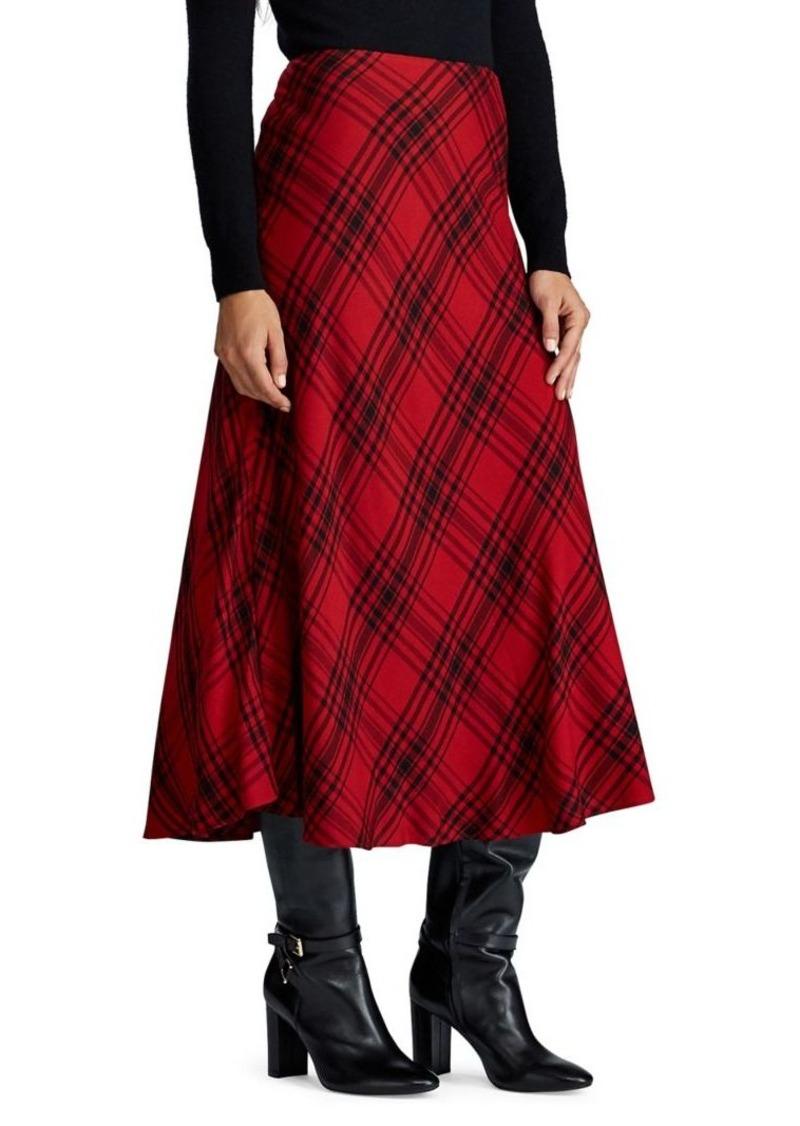 Lauren Ralph Lauren Plaid A-Line Midi Skirt