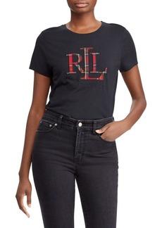 Lauren Ralph Lauren Plaid Appliqué Logo Tee