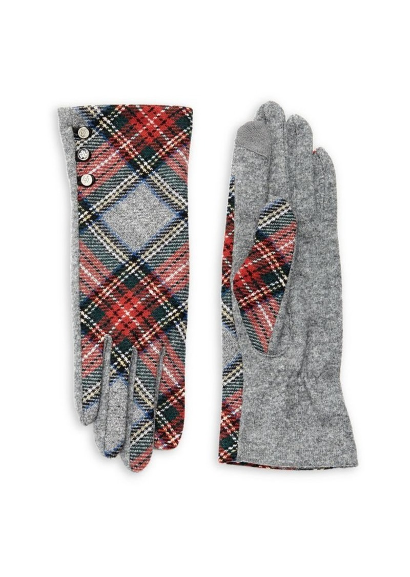 Lauren Ralph Lauren Women's Plaid Buttoned Gloves