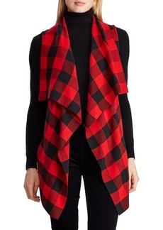 Lauren Ralph Lauren Plaid Draped-Front Cotton-Blend Vest
