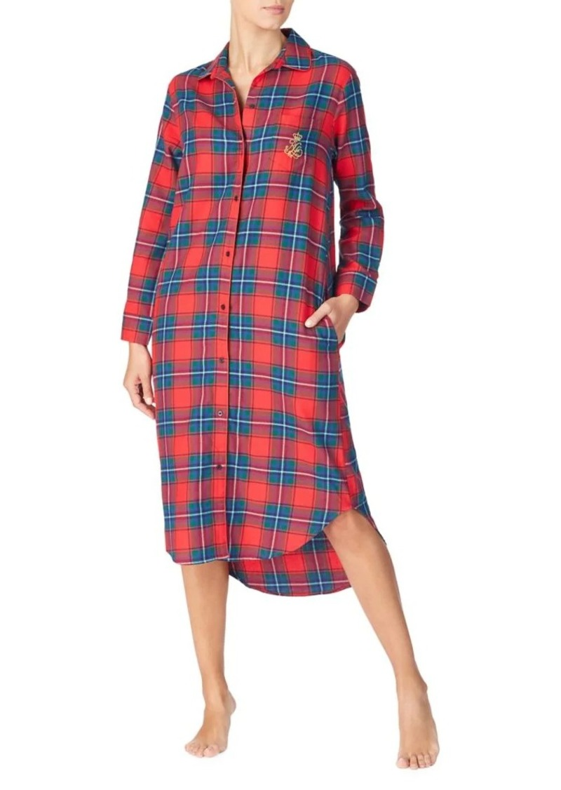 Lauren Ralph Lauren Plaid Long-Sleeve Sleepshirt