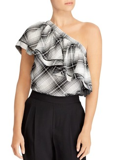 Lauren Ralph Lauren Plaid One-Shoulder Ruffle Top