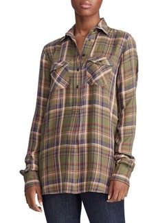 Lauren Ralph Lauren Plaid Patch-Pocket Shirt