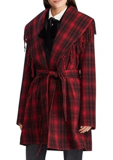 Lauren Ralph Lauren Plaid-Print Fringed Wool-Blend Coat
