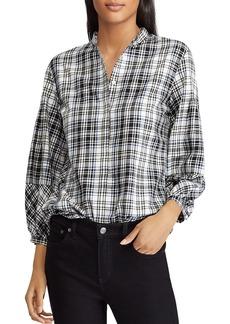 Lauren Ralph Lauren Plaid Puff Sleeve Shirt