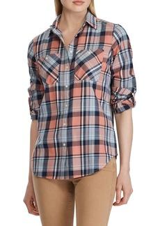 Lauren Ralph Lauren Plaid Roll-Tab Sleeve Button-Down Shirt