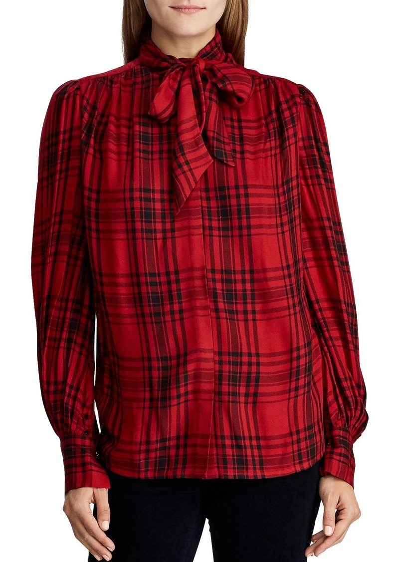 Lauren Ralph Lauren Plaid Tie-Neck Blouse