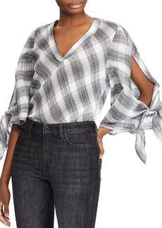 Lauren Ralph Lauren Plaid Tie-Sleeve Top