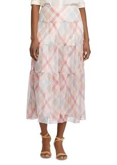 Lauren Ralph Lauren Plaid Tiered Peasant Skirt