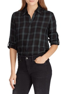 Lauren Ralph Lauren Plaid Twill Button Front Shirt