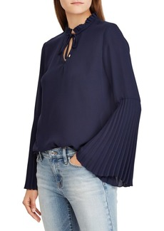 Lauren Ralph Lauren Pleated Bell-Sleeve Top
