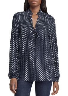 Lauren Ralph Lauren Pleated Dot-Print Top