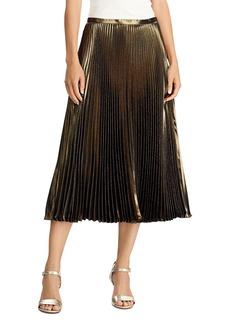 Lauren Ralph Lauren Pleated Metallic Midi Skirt