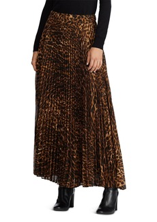 Lauren Ralph Lauren Pleated Ocelot-Print Maxi Skirt