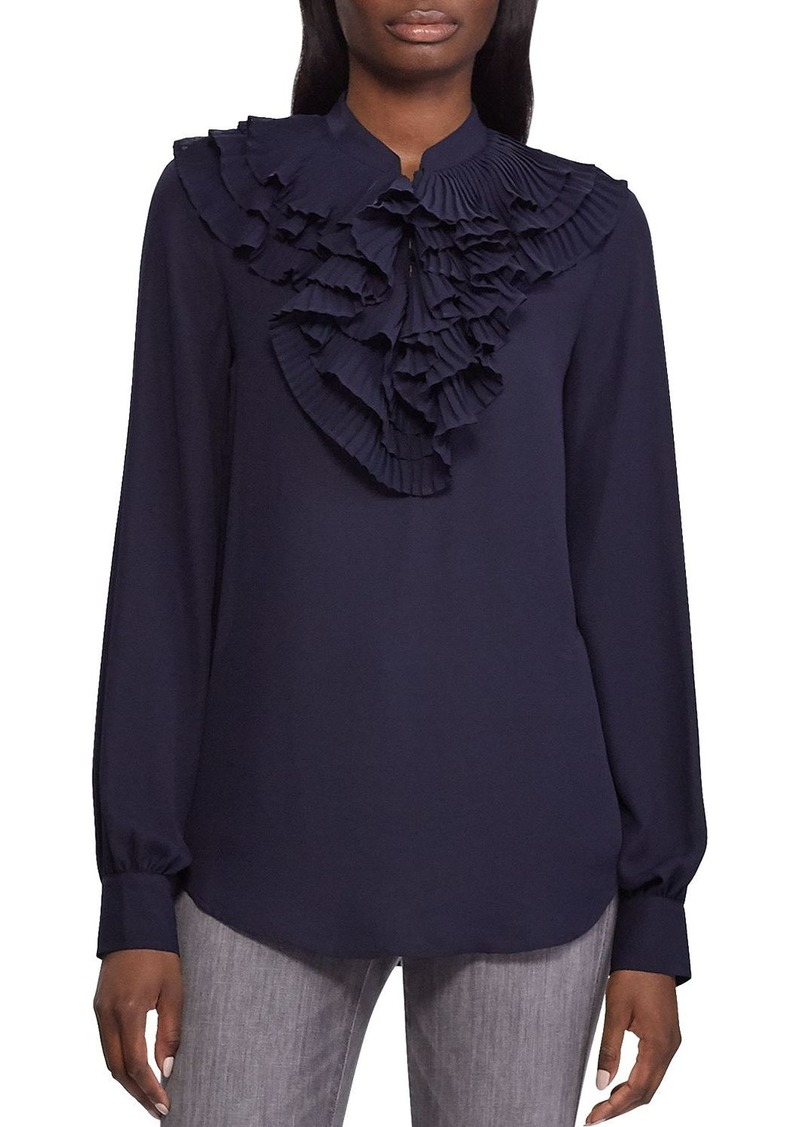 Lauren Ralph Lauren Pleated-Ruffle Top