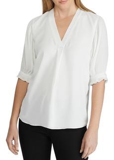 Lauren Ralph Lauren Pleated-Sleeve Top