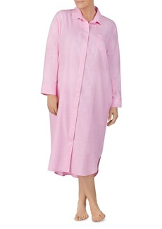 Lauren Ralph Lauren Plus Brushed Twill Long Sleepshirt