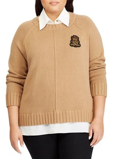 Lauren Ralph Lauren Plus Bullion-Patch Layered Sweater