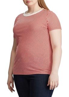 Lauren Ralph Lauren Plus Button-Shoulder Striped Tee