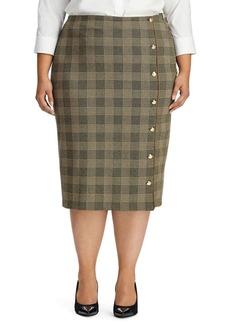 Lauren Ralph Lauren Plus Button-Trimmed Glen Plaid Skirt