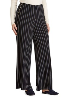 Lauren Ralph Lauren Plus Button-Trimmed Jersey Pants