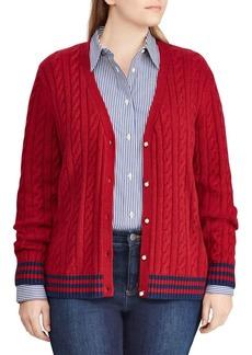 Lauren Ralph Lauren Plus Cable-Knit Buttoned Cardigan