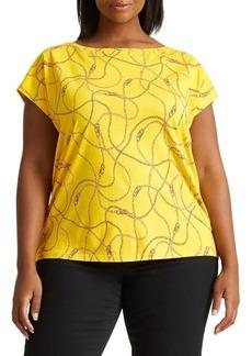 Lauren Ralph Lauren Plus Chain-Print Cotton-Blend Tee