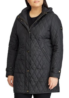 Lauren Ralph Lauren Plus Contrast-Trim Quilted Snap Coat