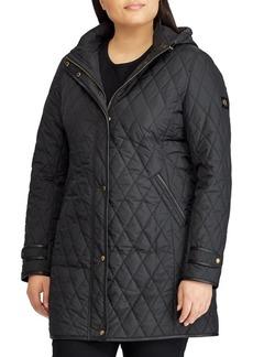 Lauren Ralph Lauren Plus Contrast-Trim Quilted Snap Coat
