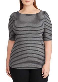 Lauren Ralph Lauren Plus Cotton Boatneck Top