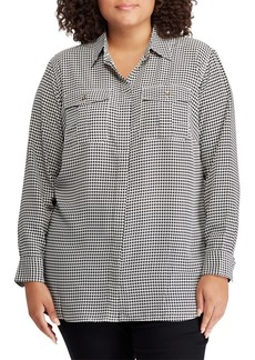 Lauren Ralph Lauren Plus Crepe Button-Down Shirt