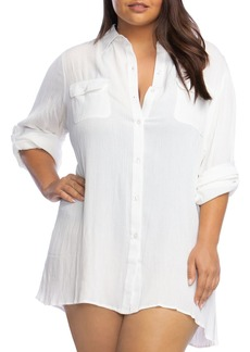 Lauren Ralph Lauren Plus Crinkle Camp Shirt Swim Cover-Up