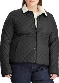 Lauren Ralph Lauren Plus Faux Fur Trimmed Quilted Jacket