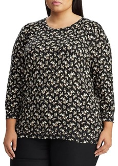 Lauren Ralph Lauren Plus Floral-Print Cotton Blend Sweater