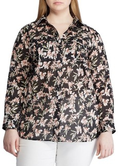 Lauren Ralph Lauren Plus Floral Print Cotton Button-Down Shirt