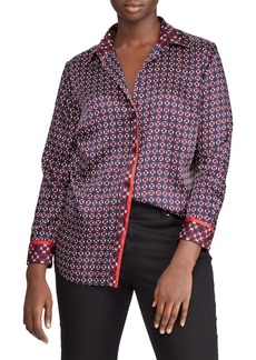Lauren Ralph Lauren Plus Geometric-Print Long-Sleeve Shirt