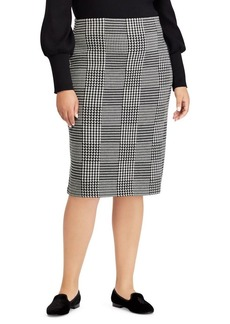 Lauren Ralph Lauren Plus Glen Plaid Wool Pencil Skirt