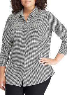 Lauren Ralph Lauren Plus Glen Plaid Wrap Top