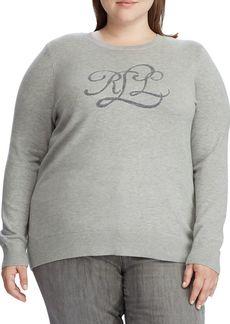 Lauren Ralph Lauren Plus Intarsia-Knit Logo Cotton-Blend Sweater