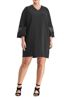 Lauren Ralph Lauren Plus Lace-Trim Crepe Shift Dress