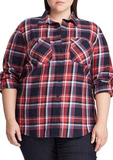 Lauren Ralph Lauren Plus Plaid Cotton Twill Roll-Tab Shirt